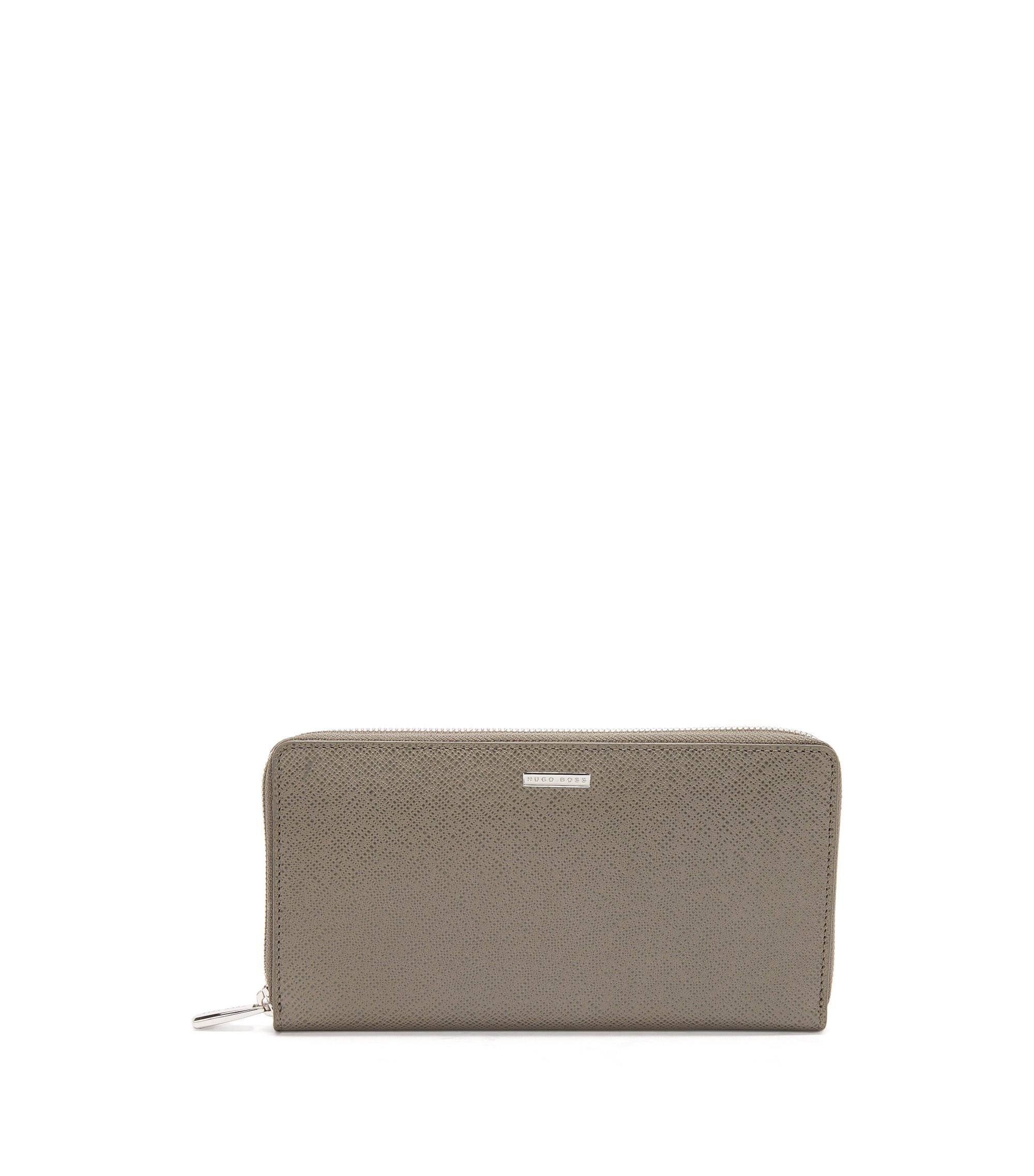 BOSS Signature Collection ziparound wallet in palmellato leather, Dark Grey