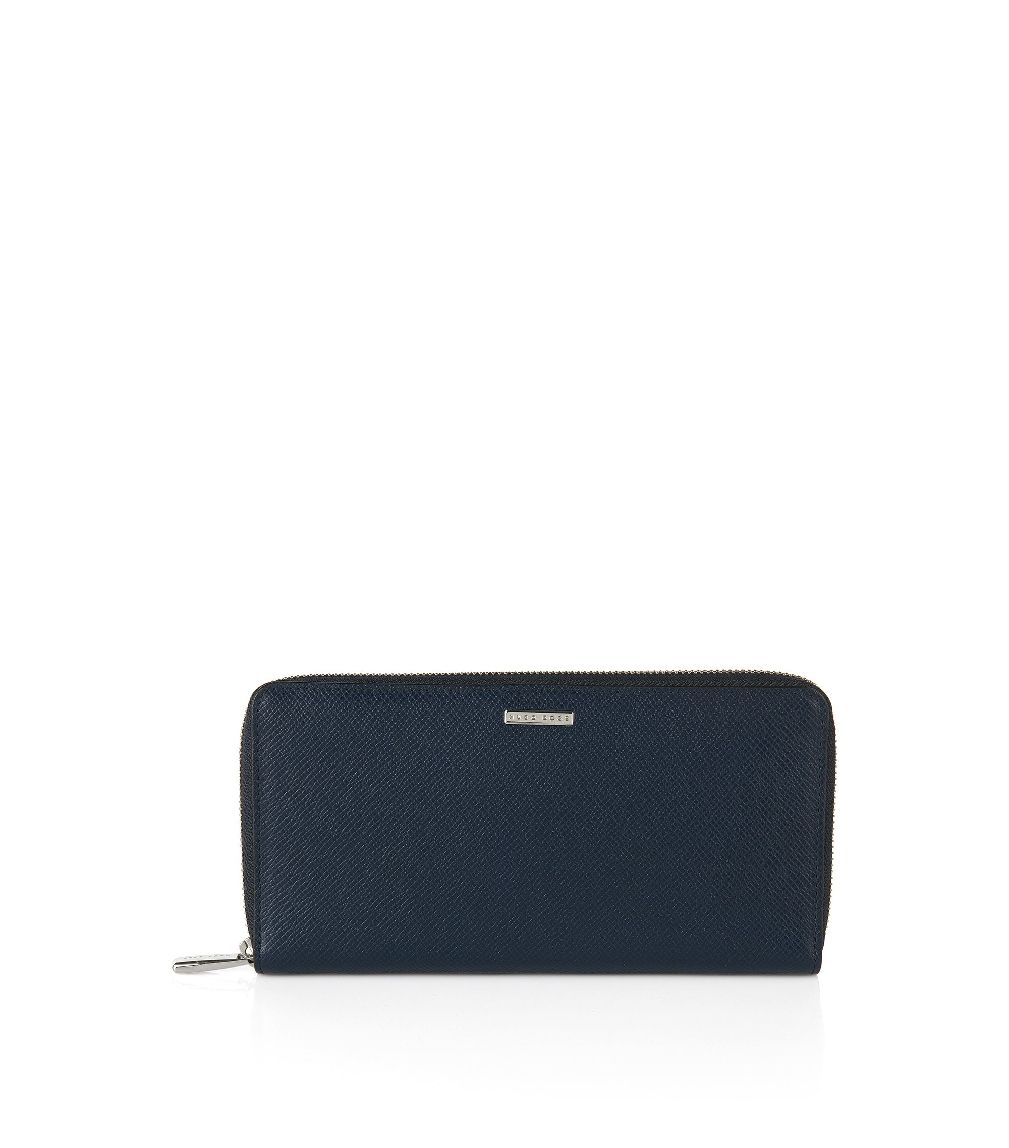 BOSS Signature Collection ziparound wallet in palmellato leather, Dark Blue