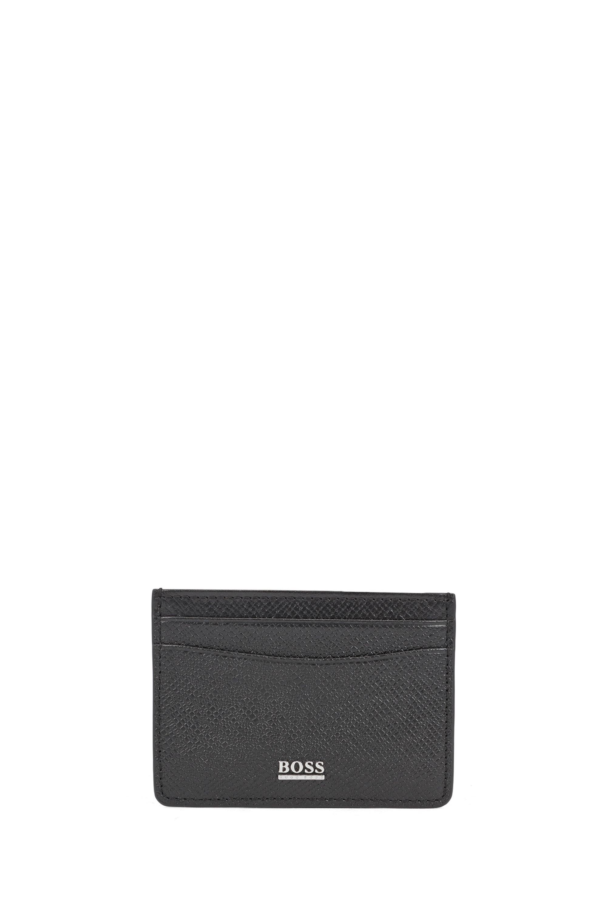 Kartenetui aus genarbtem Palmellato-Leder aus der Signature Collection, Schwarz