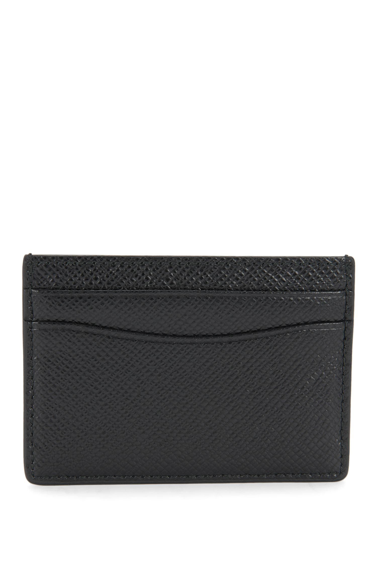 Signature Collection card holder in grained palmellato leather, Black