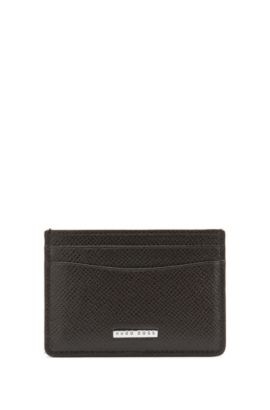 Signature Collection card holder in grained palmellato leather, Dark Brown