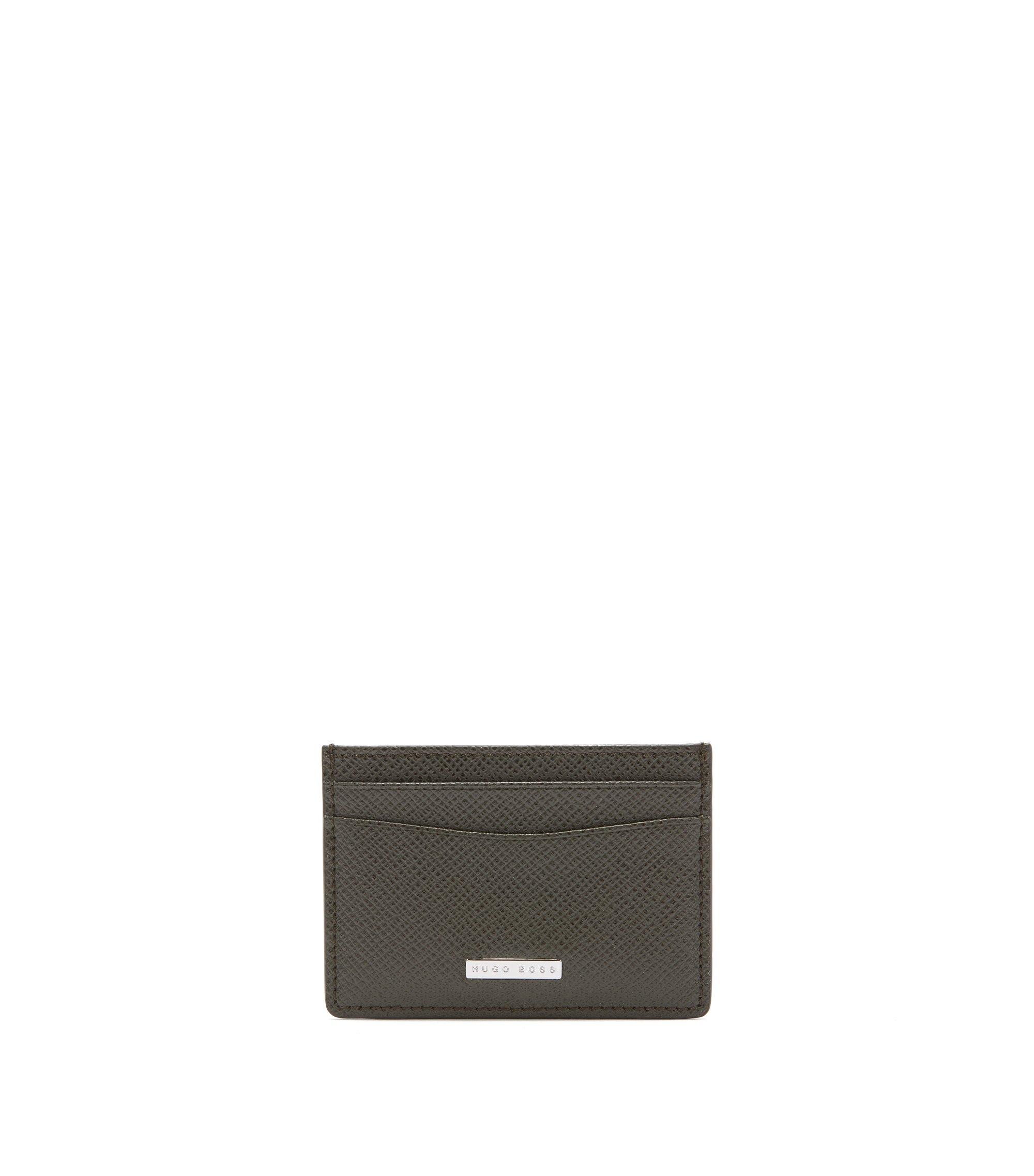 Signature Collection card holder in grained palmellato leather, Dark Green