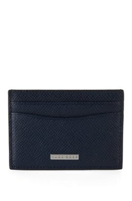 Card holders by hugo boss convenience meets style signature collection card holder in grained palmellato leather dark blue colourmoves