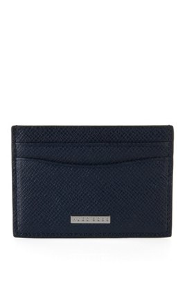 Signature Collection card holder in grained palmellato leather, Dark Blue