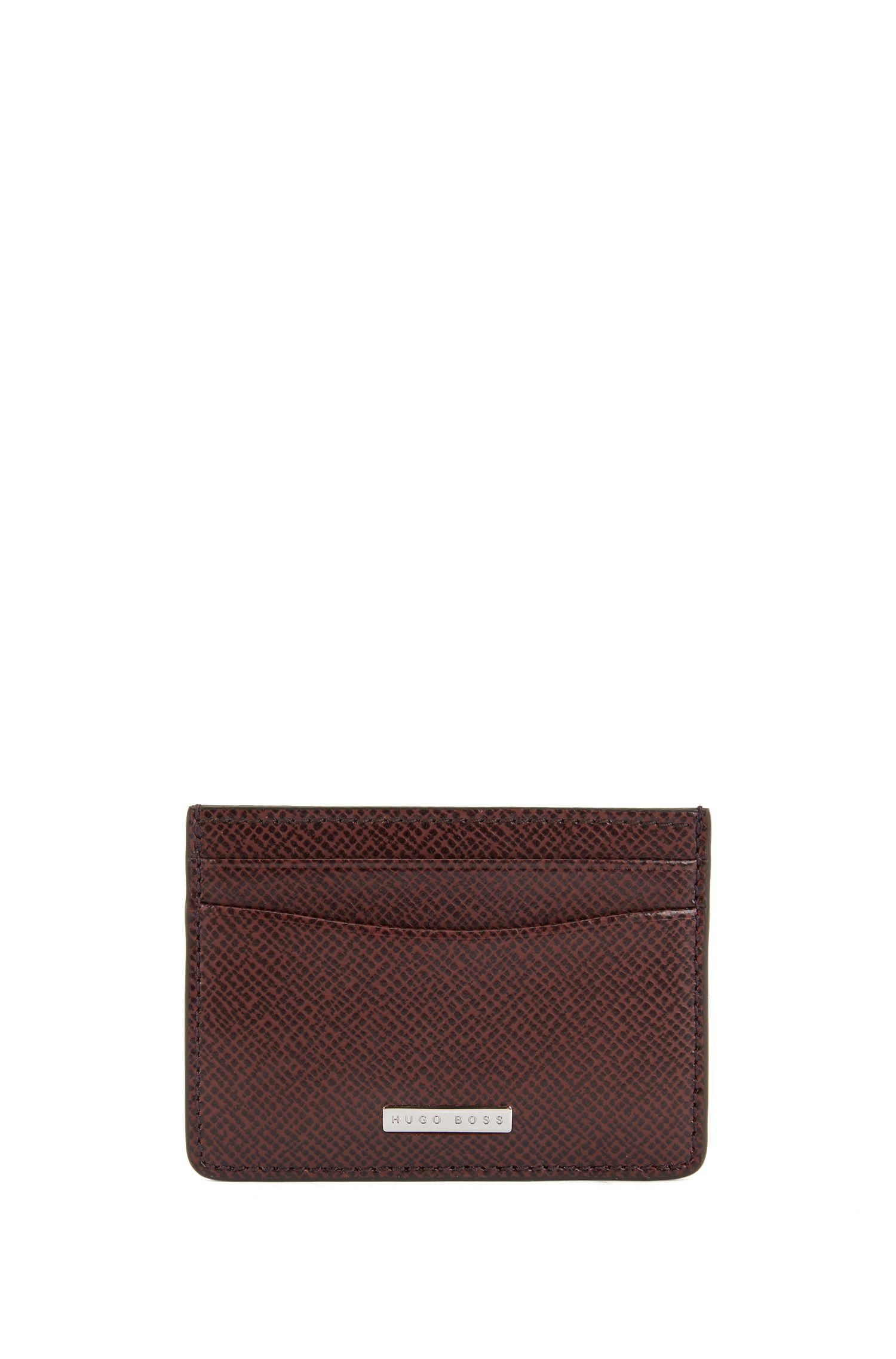 Signature Collection card holder in grained palmellato leather, Dark Red
