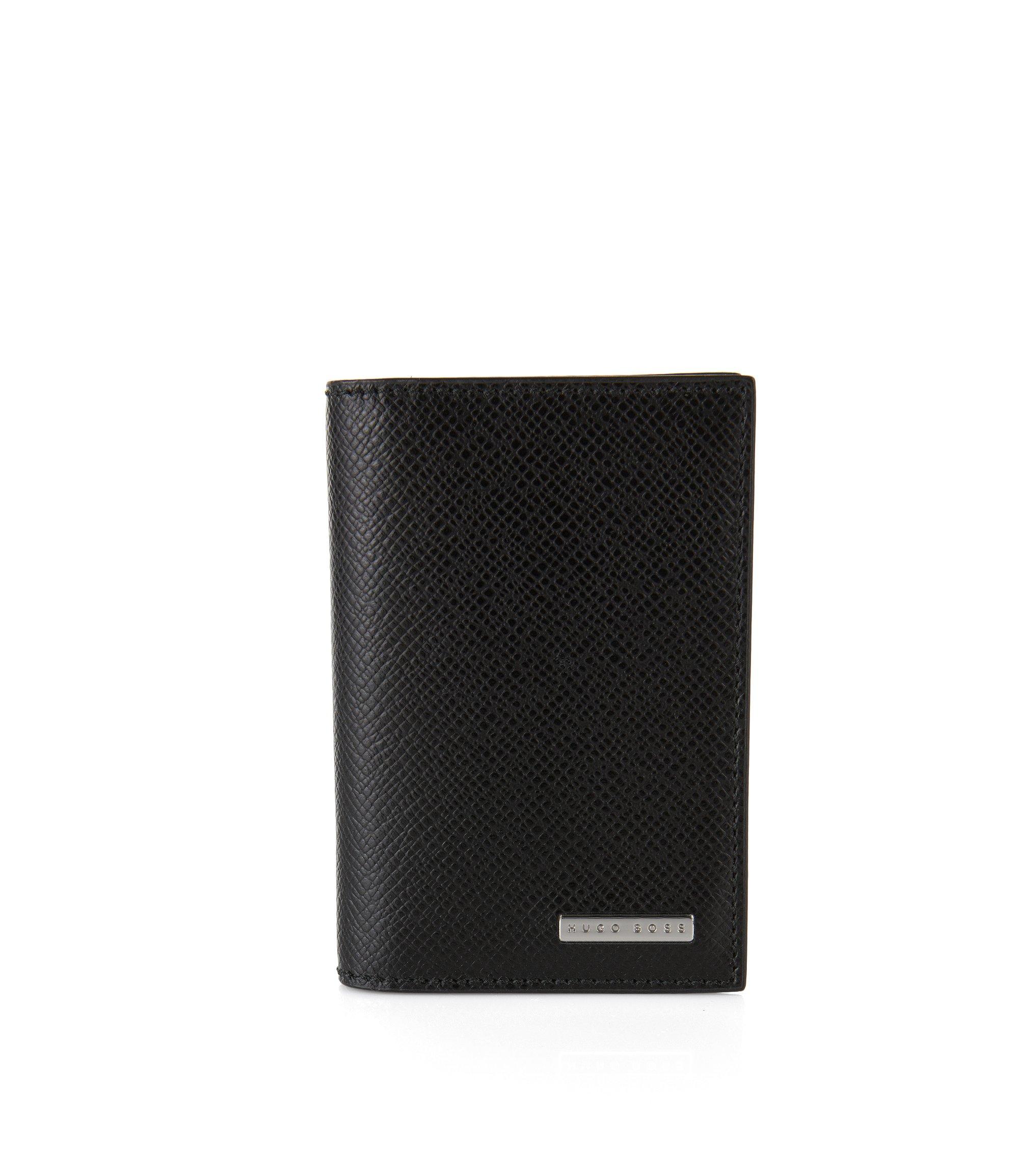 Kleine Geldbörse aus Palmellato-Leder zum Aufklappen aus der Signature Collection, Schwarz