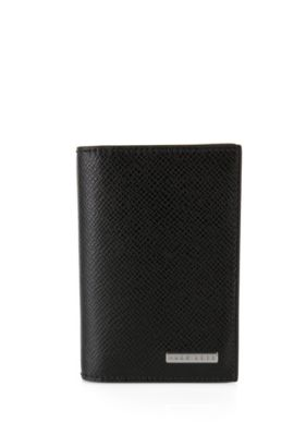 Petit portefeuille pliant de la collection Signature en cuir palmellato, Noir