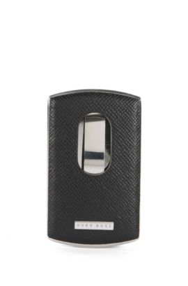 Signature Collection business card case in metal and leather, Black