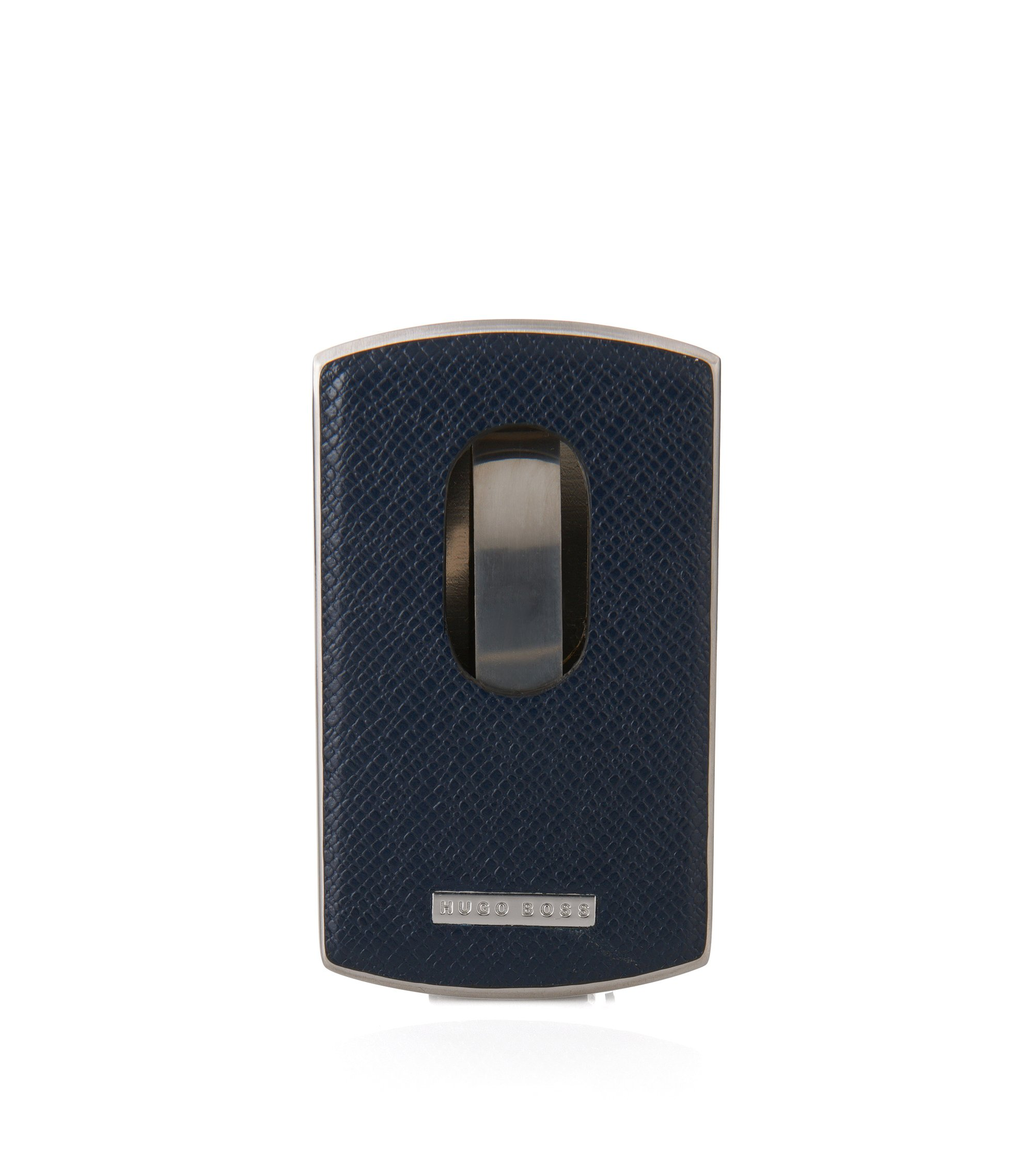 Signature Collection business card case in metal and leather, Dark Blue