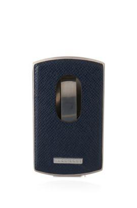 Porte-cartes en métal et cuir de la collection Signature, Bleu foncé