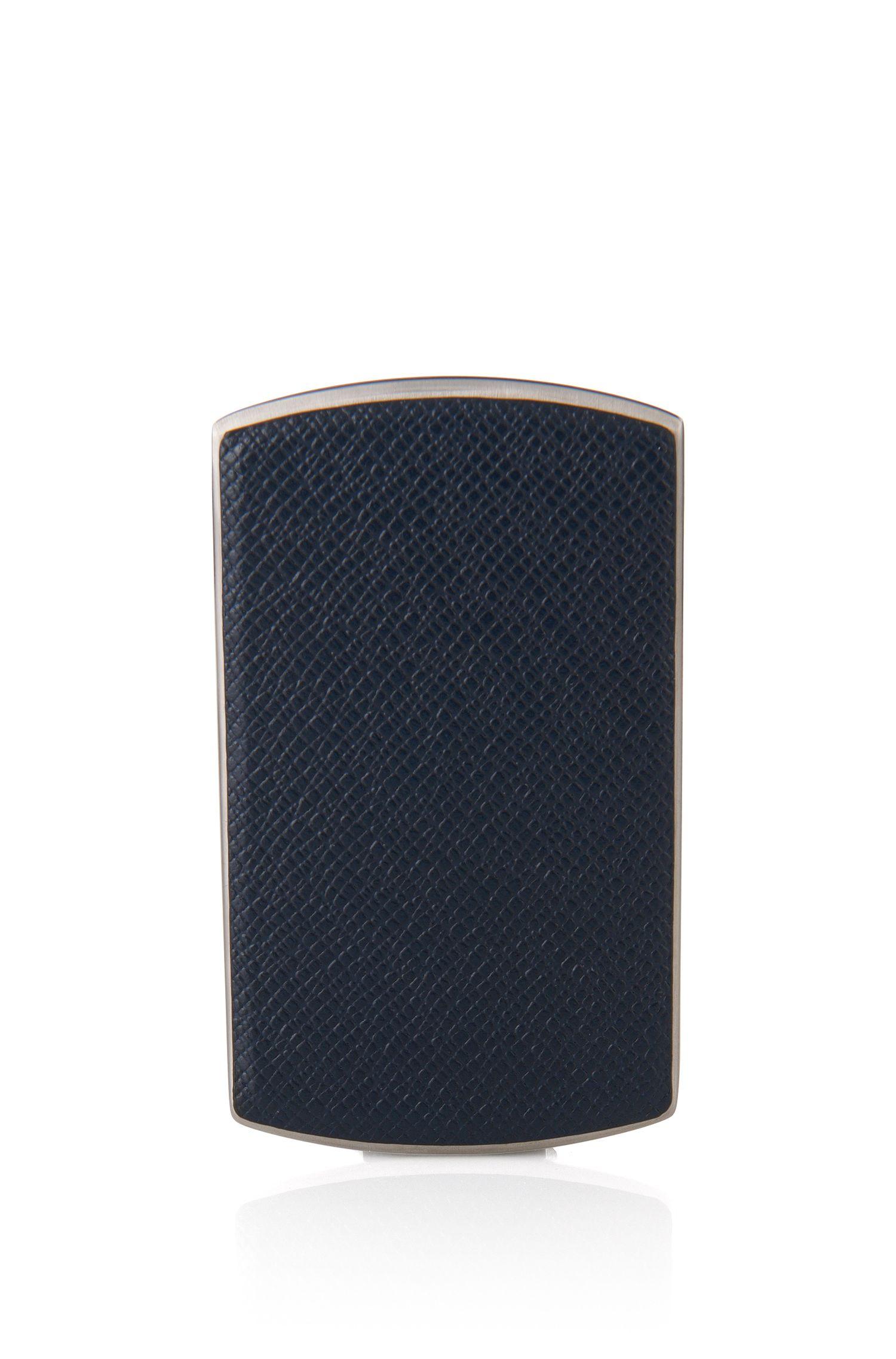 Tarjetero business de la colección Signature en metal y piel, Azul oscuro