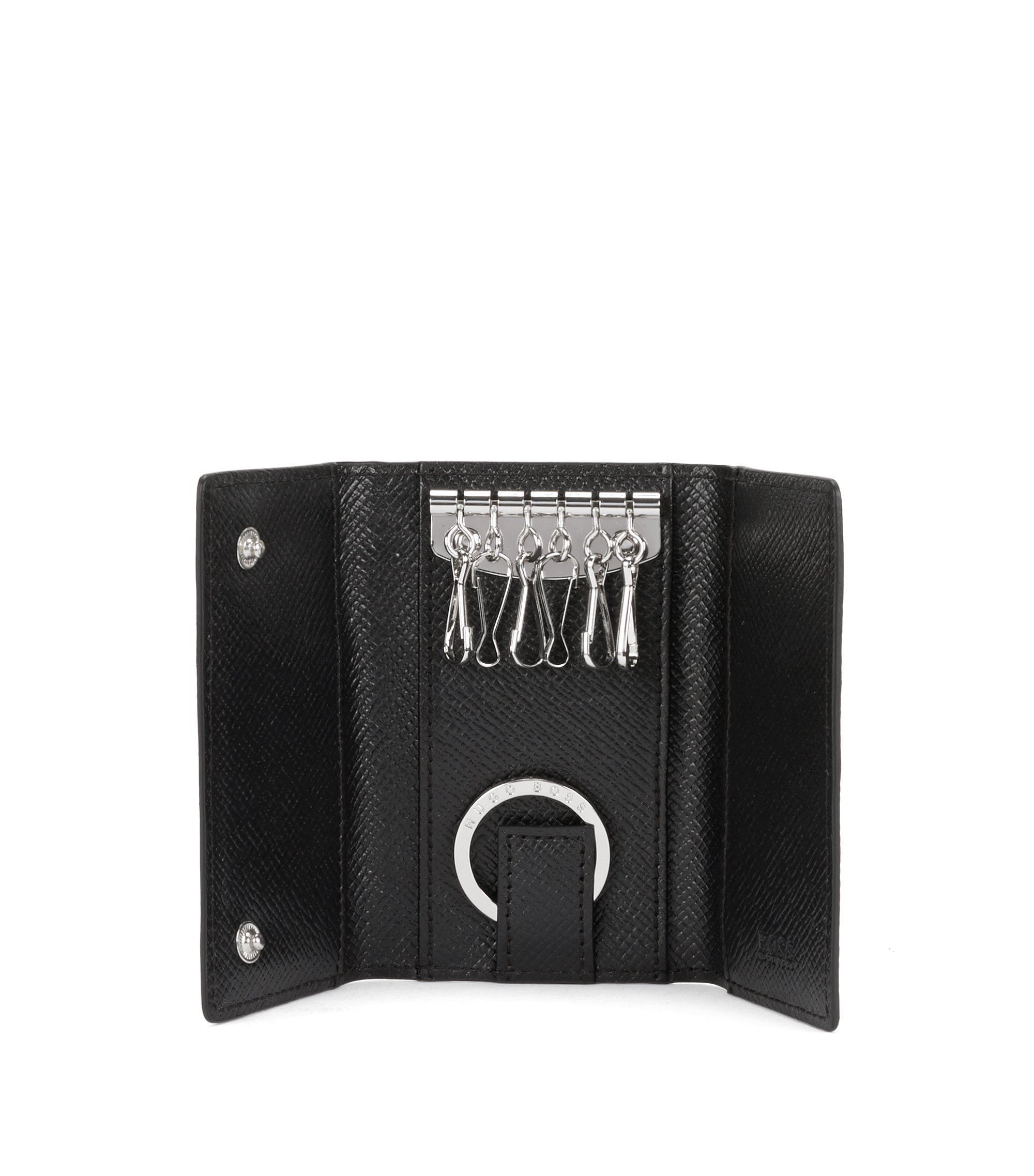 Cartera para llaves en piel de estilo palmellato de la Signature Collection, Negro