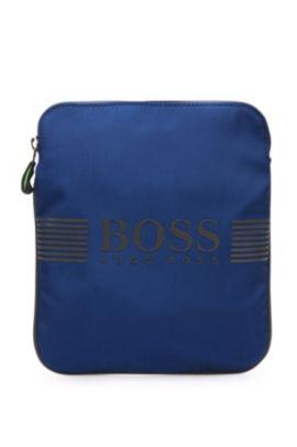 Mini bag in materiali misti con inserti in similpelle: 'Pixel_S zip env', Blu