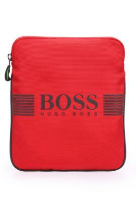 Minibag van een materiaalmix met garneersels in leerlook: 'Pixel_S zip env', Rood