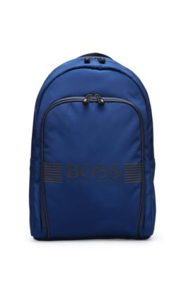 Backpack in fabric blend with leather-effect trim: 'Pixel_Backpack', Blue