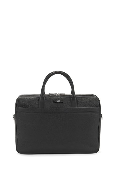 Double document case in natural grained leather , Black
