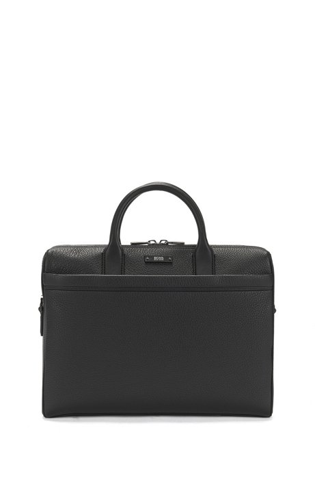 Document case in natural grained leather by BOSS, Black