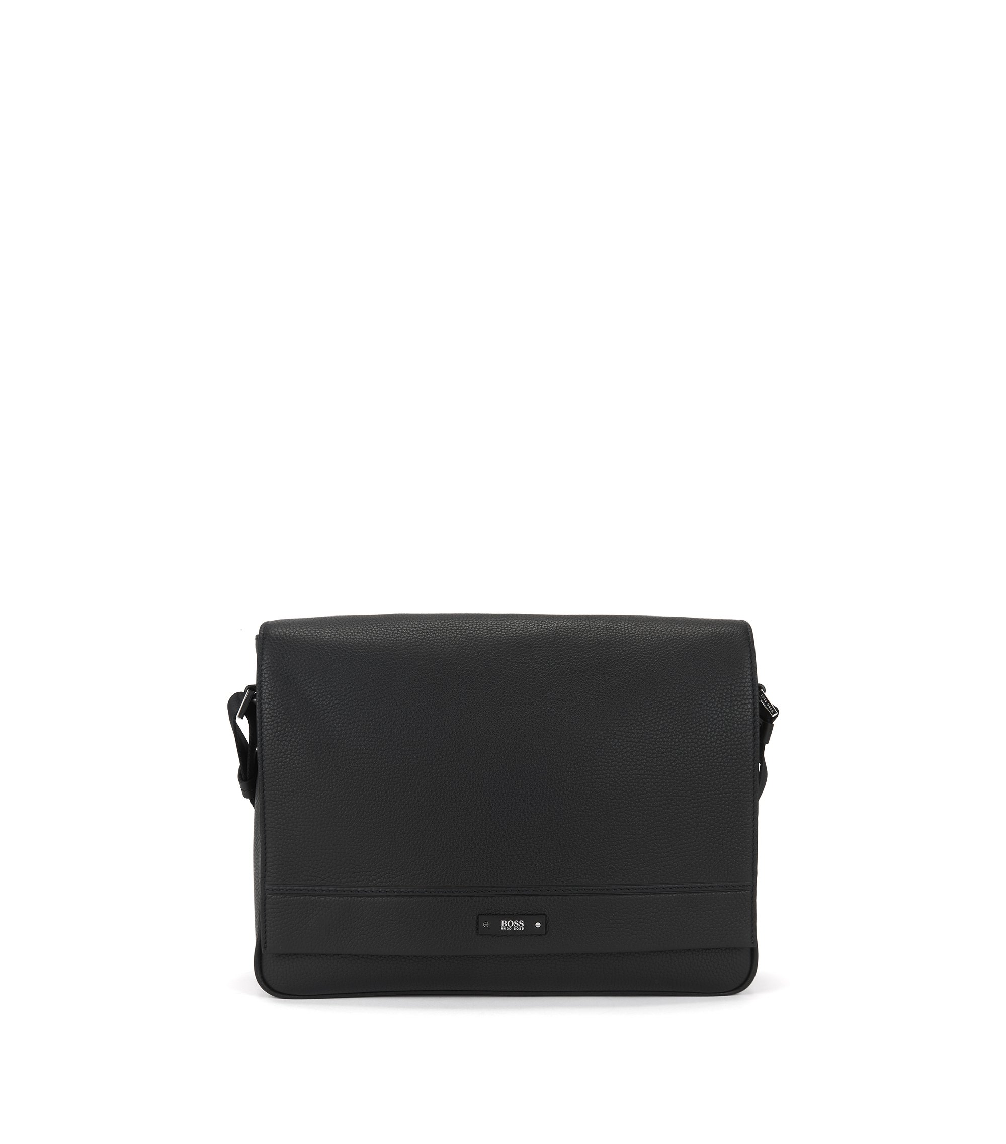 Messenger bag in soft grained leather, Black