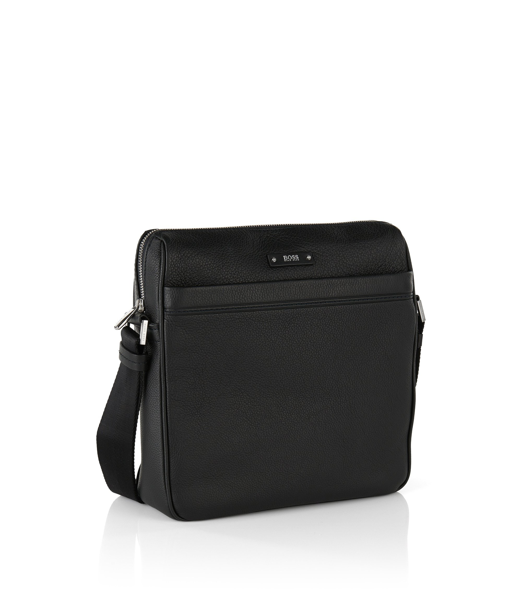 Borsa reporter in pelle martellata BOSS Travel Line, Nero
