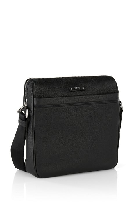 9075aa2d8 BOSS Travel Line reporter bag in grained leather. Style Traveller_NS zip -  50311776. Colour: Black