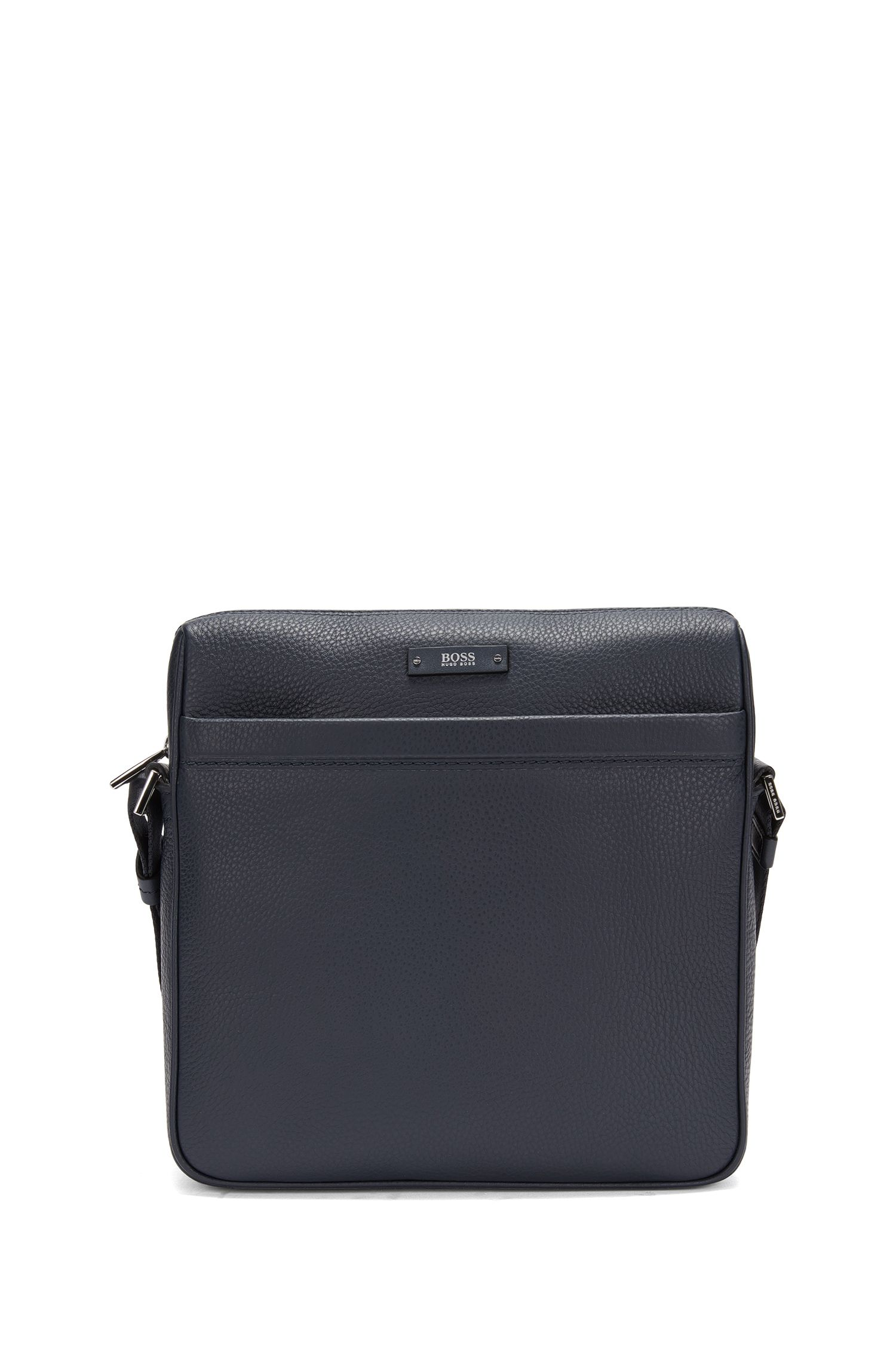 BOSS Travel Line reporter bag in grained leather