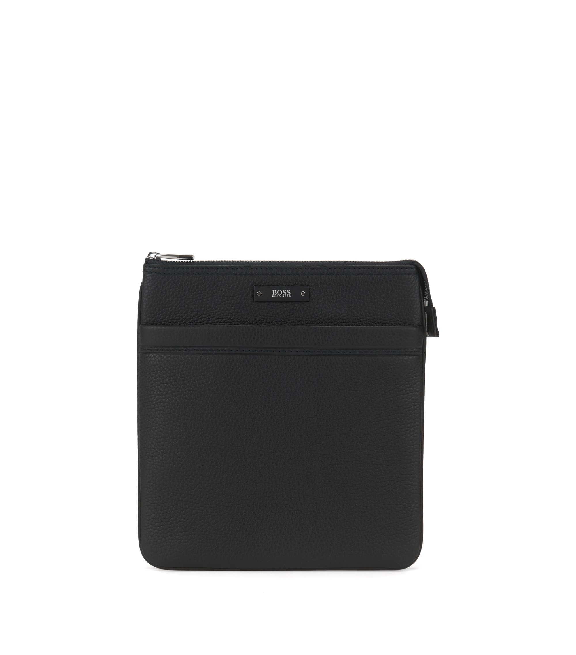 Borsa envelope a tracolla in pelle martellata naturale by BOSS, Nero