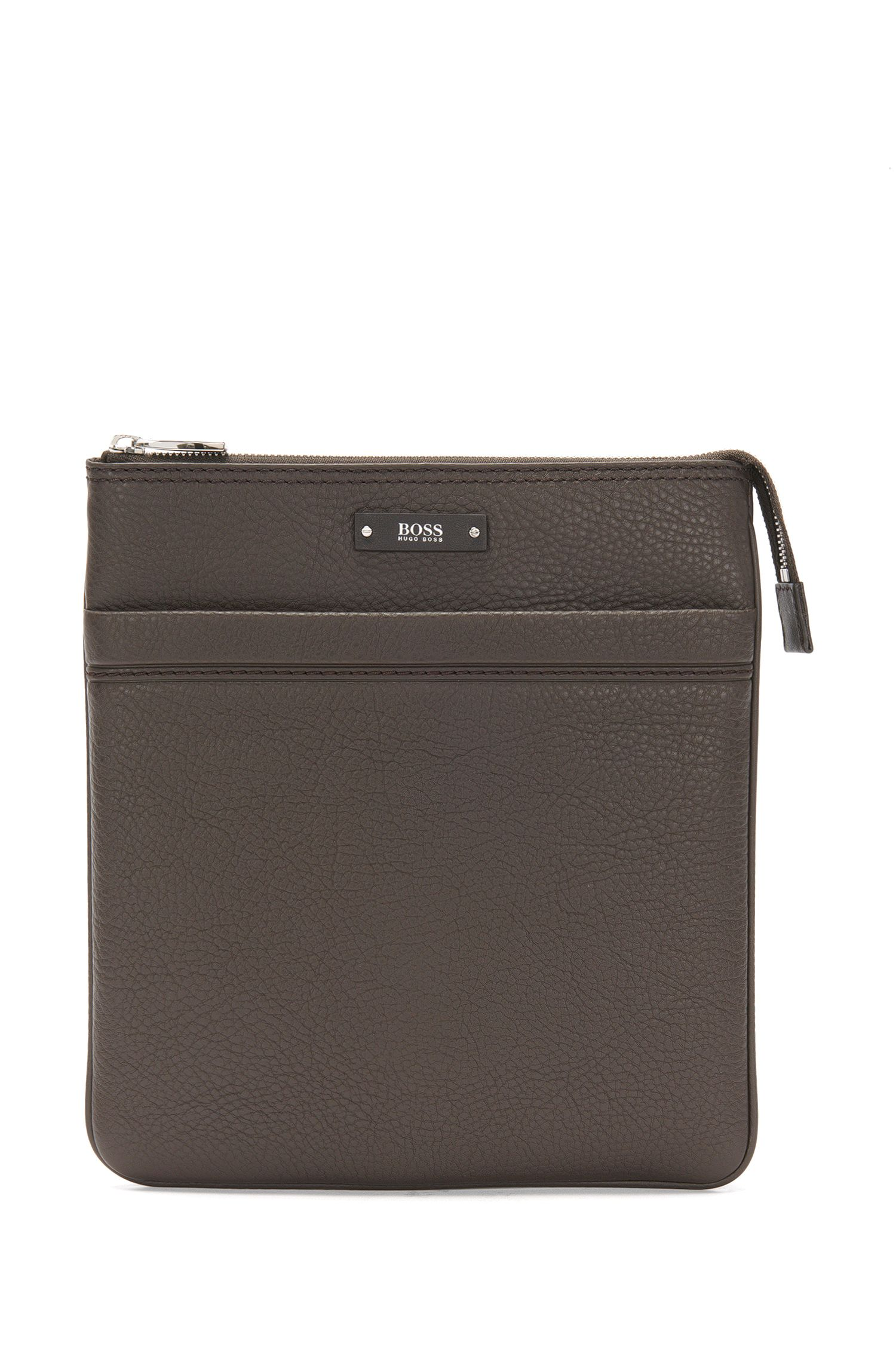 Porte-document BOSS porté croisé, en cuir naturellement grainé