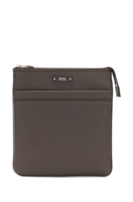 Crossbody envelope bag in natural grained leather by BOSS, Dark Brown