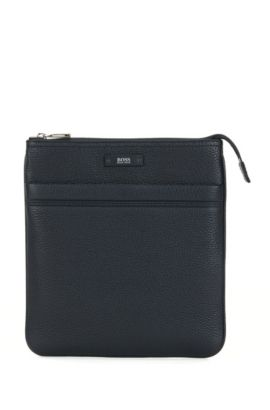 Crossbody envelope bag in natural grained leather by BOSS, Dark Blue