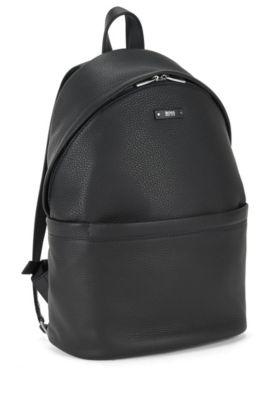 Rucksack aus genarbtem italienischem Leder, Schwarz