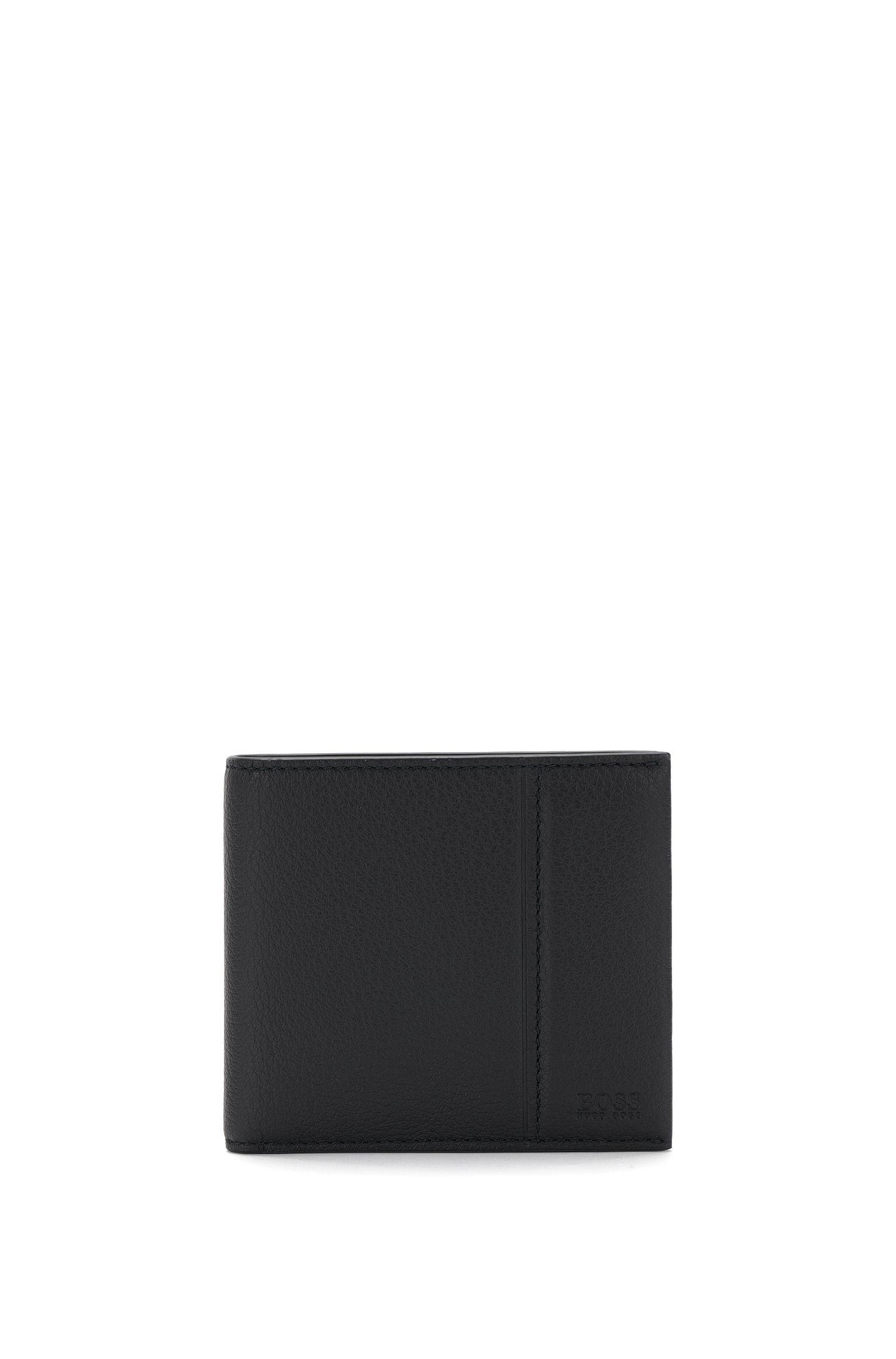 Openklapbare leren portemonnee met acht gleufjes voor pasjes