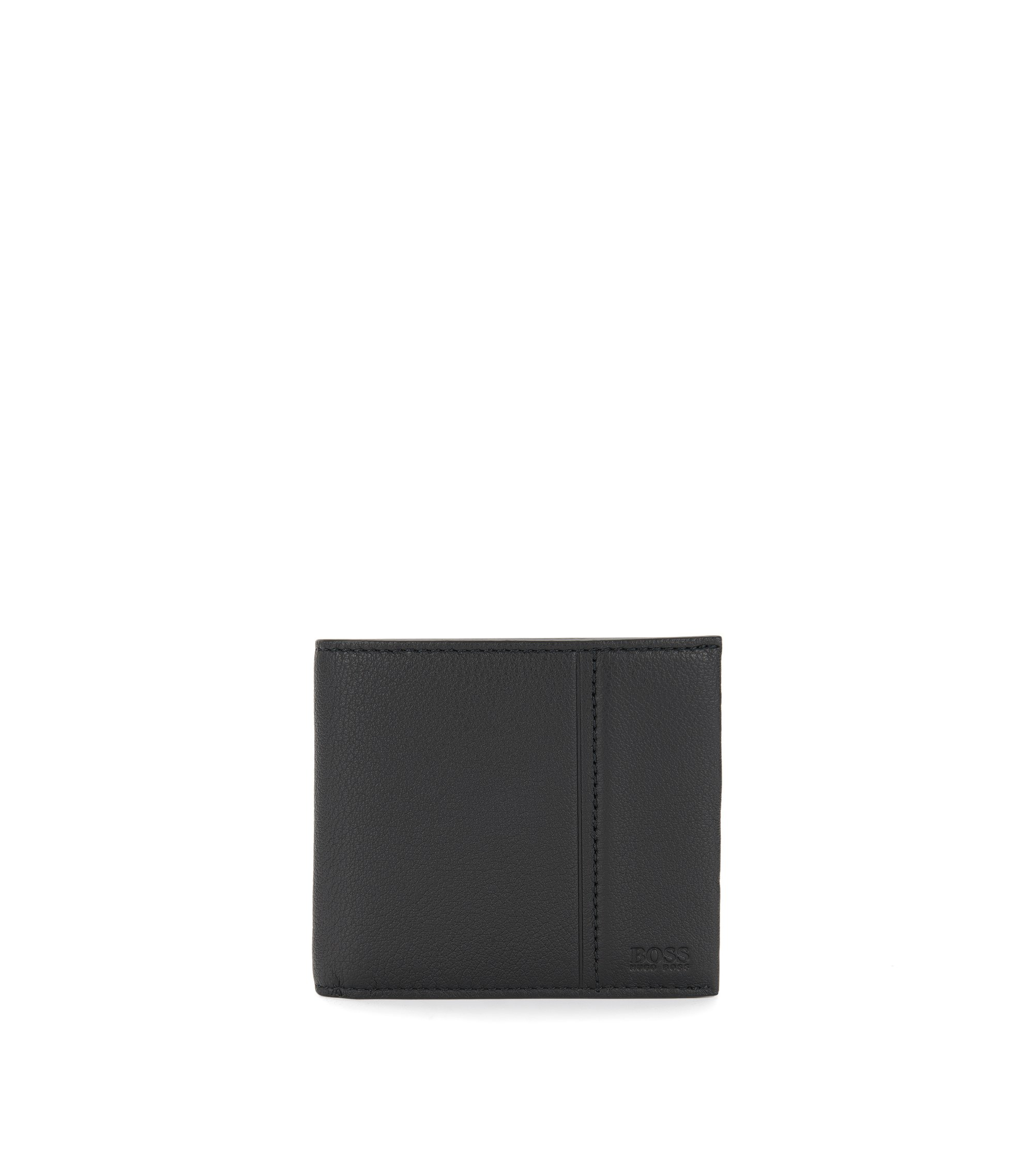Leather bi-fold wallet with coin pouch , Black