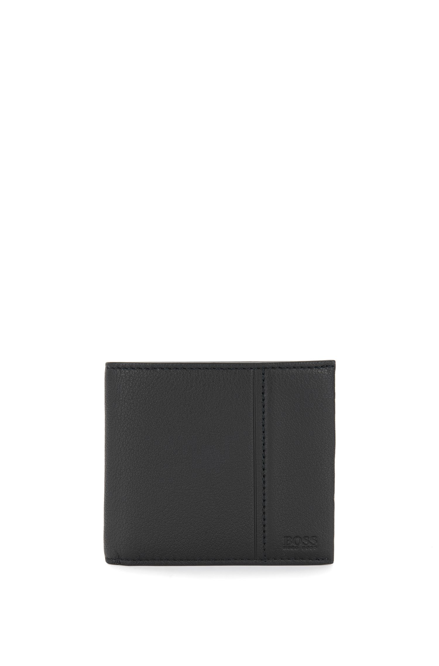 Leather bi-fold wallet with coin pouch