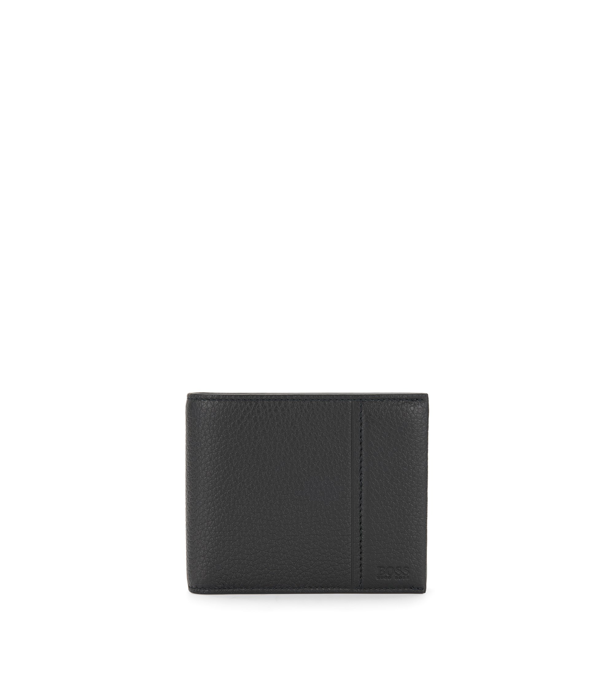 Trifold wallet in grained leather by BOSS, Black