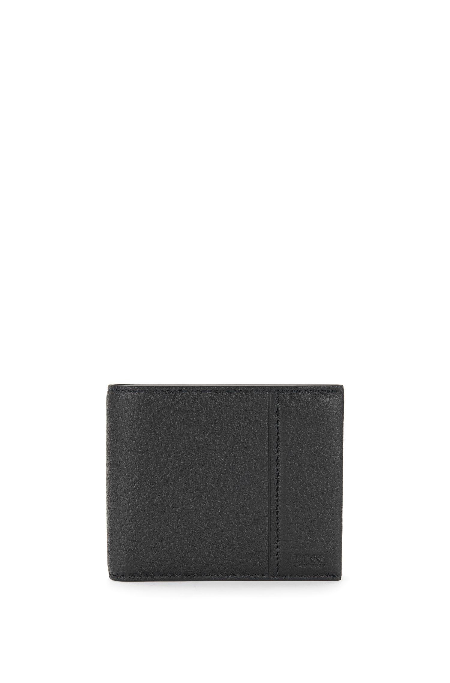 Openklapbare portemonnee van generfd rundleer van BOSS