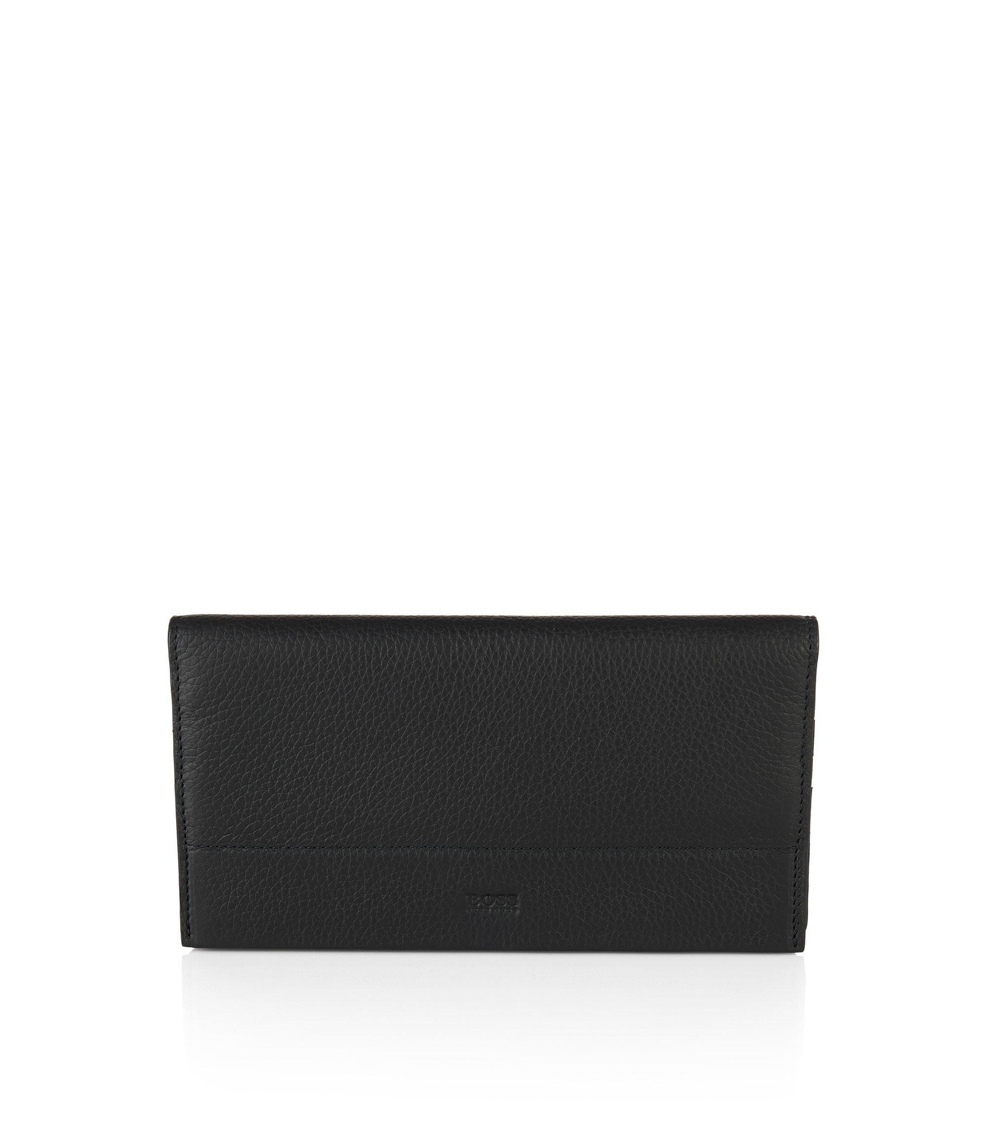 Portefeuille en cuir au format continental: «Traveller_Cont», Noir