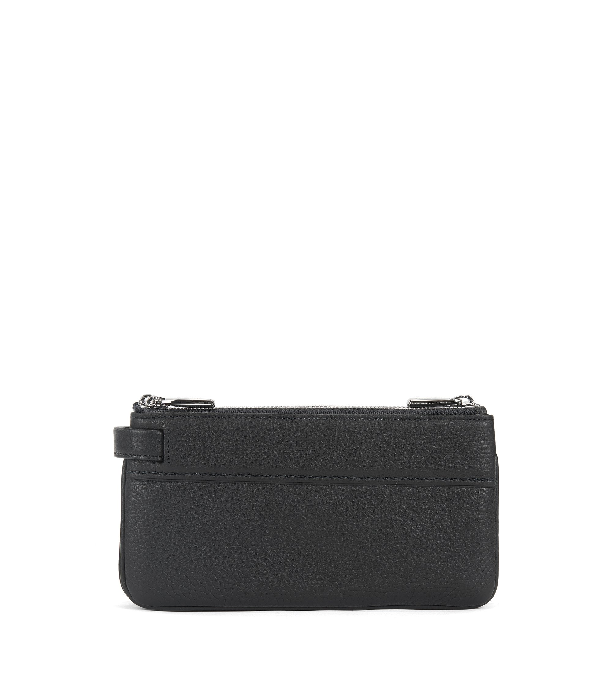Three-zip pouch in grained Italian leather , Black