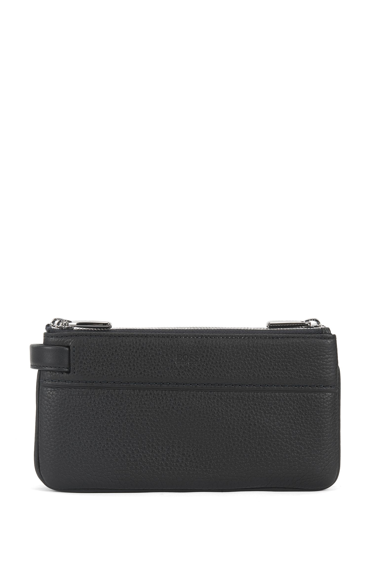 Three-zip pouch in grained Italian leather