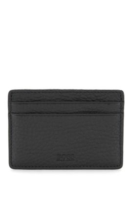 Small card holder in natural grained leather, Black