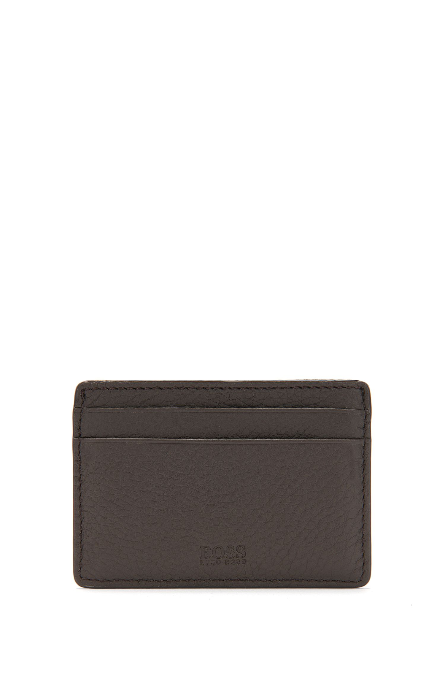 Small card holder in natural grained leather