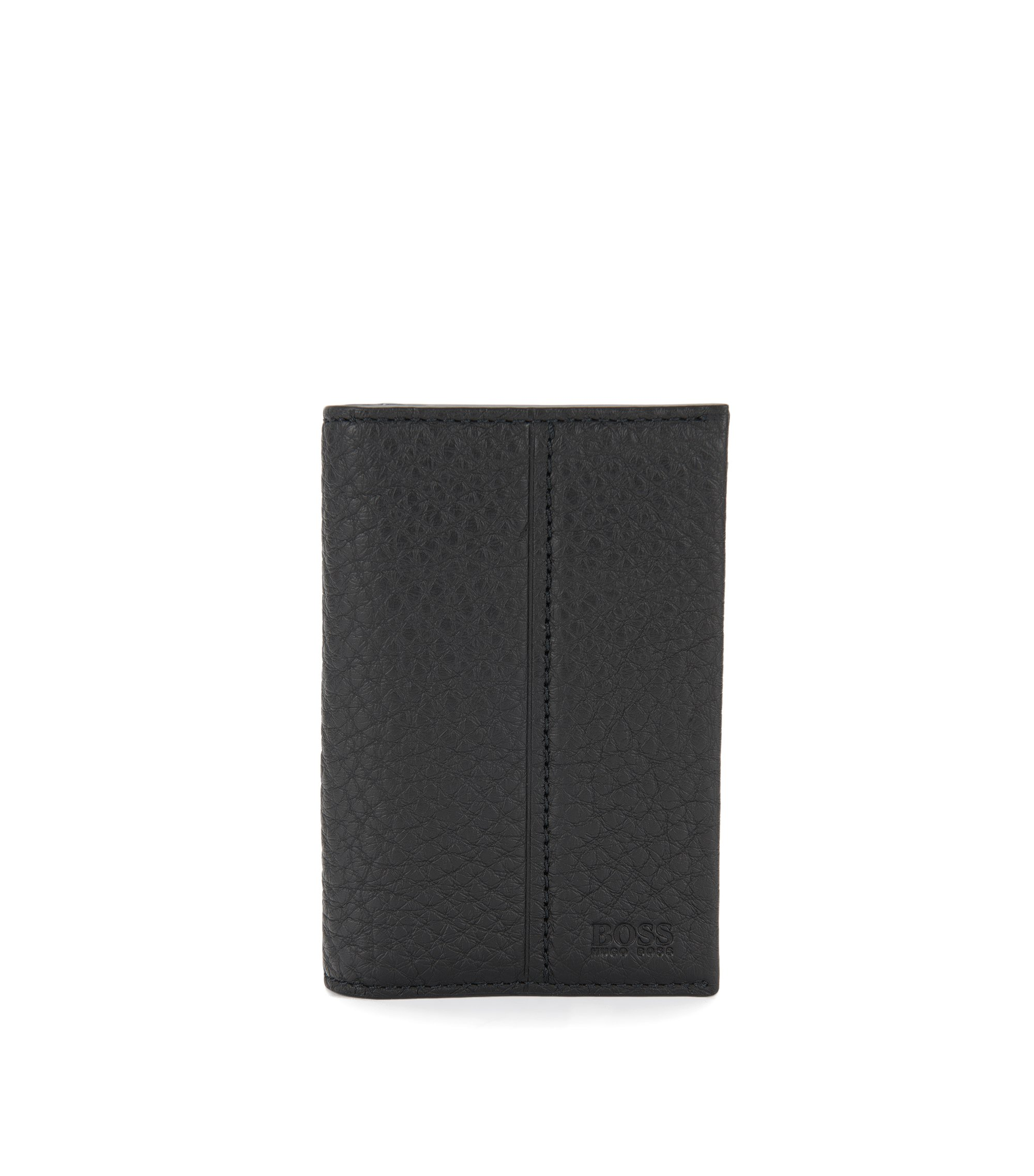 Traveller Collection card holder in grained leather , Black
