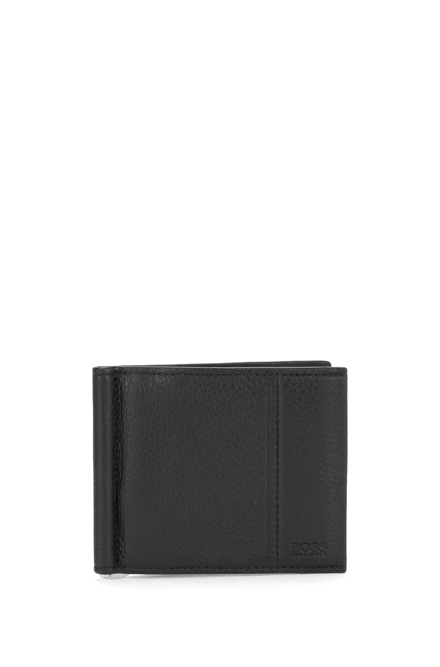 Leather wallet with money clip: 'Traveller_6 cc clip'