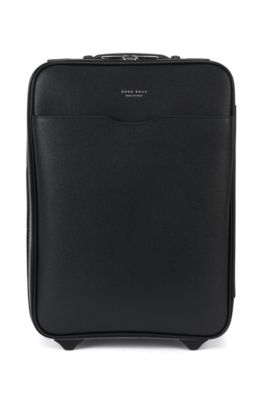 Leather cabin bag with wheeled base, Black