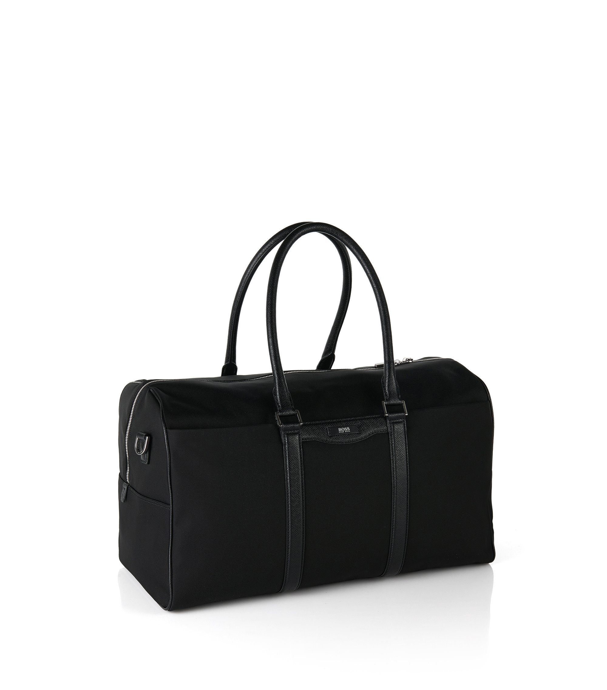 Weekender bag with leather detailing: 'Signature L_B Hold', Black