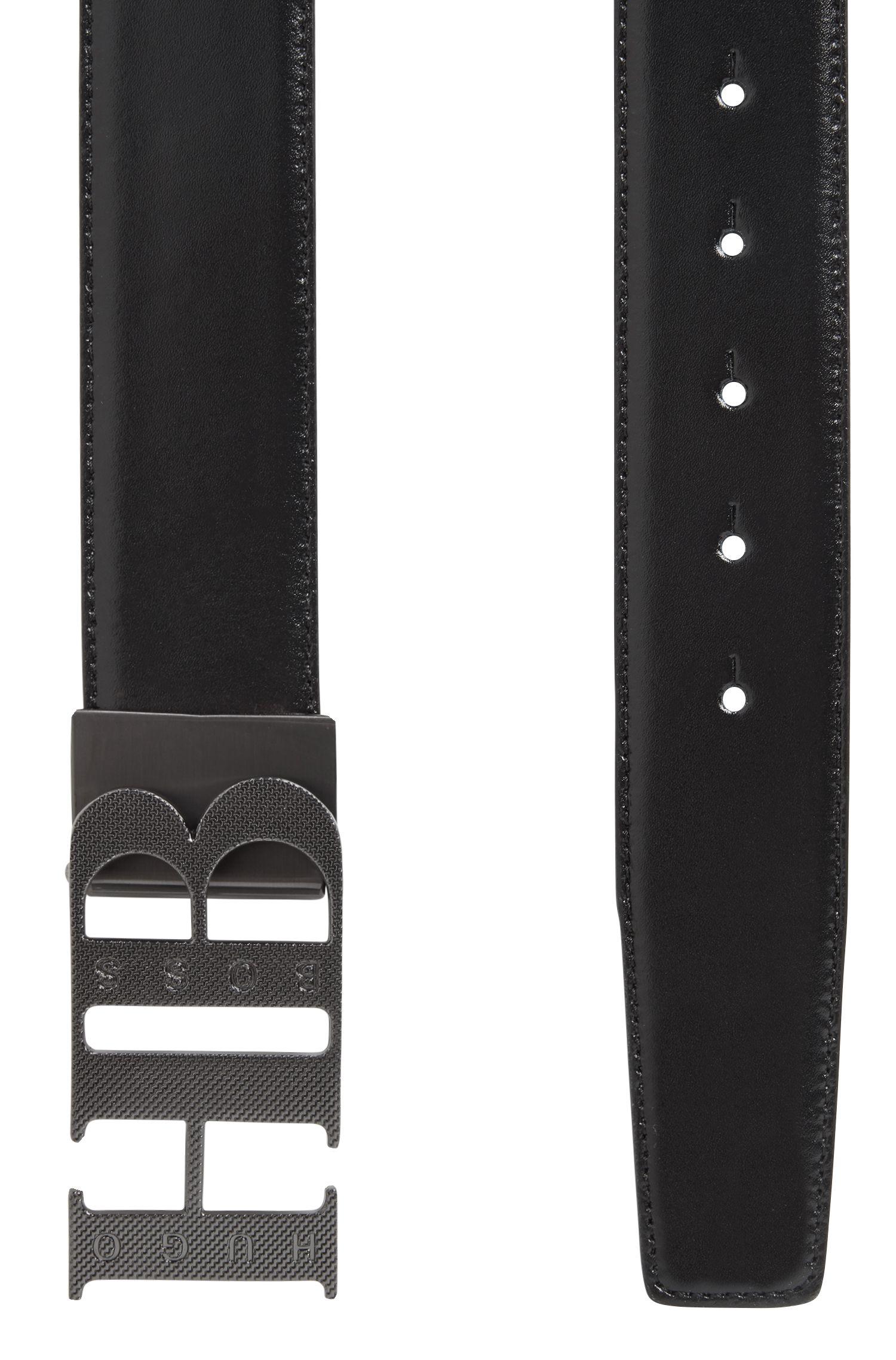 Reversible belt in soft leather, Black