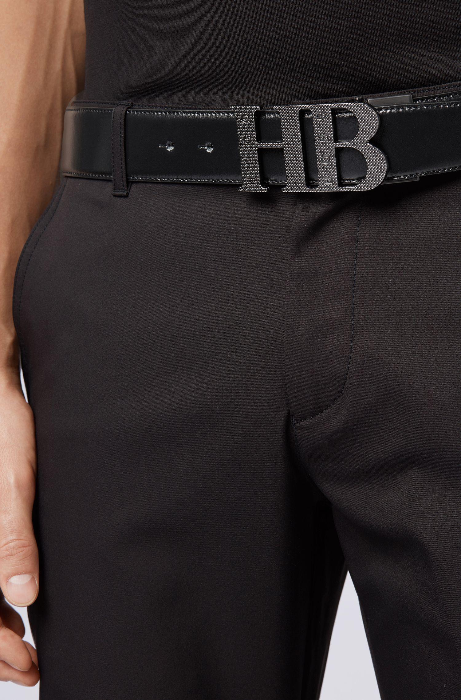 Cinturón reversible en piel suave, Negro
