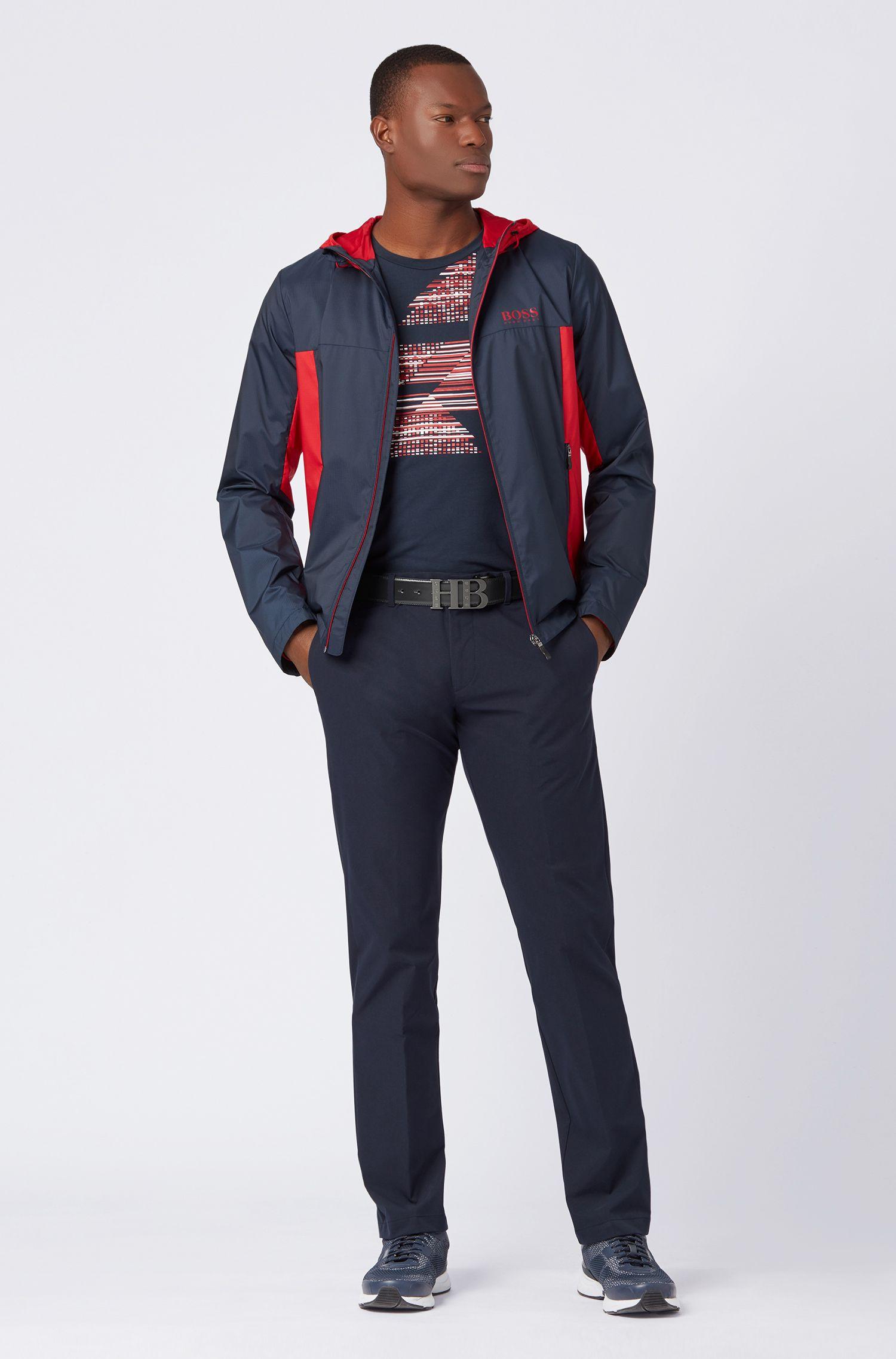 Reversible belt in soft leather, Dark Blue