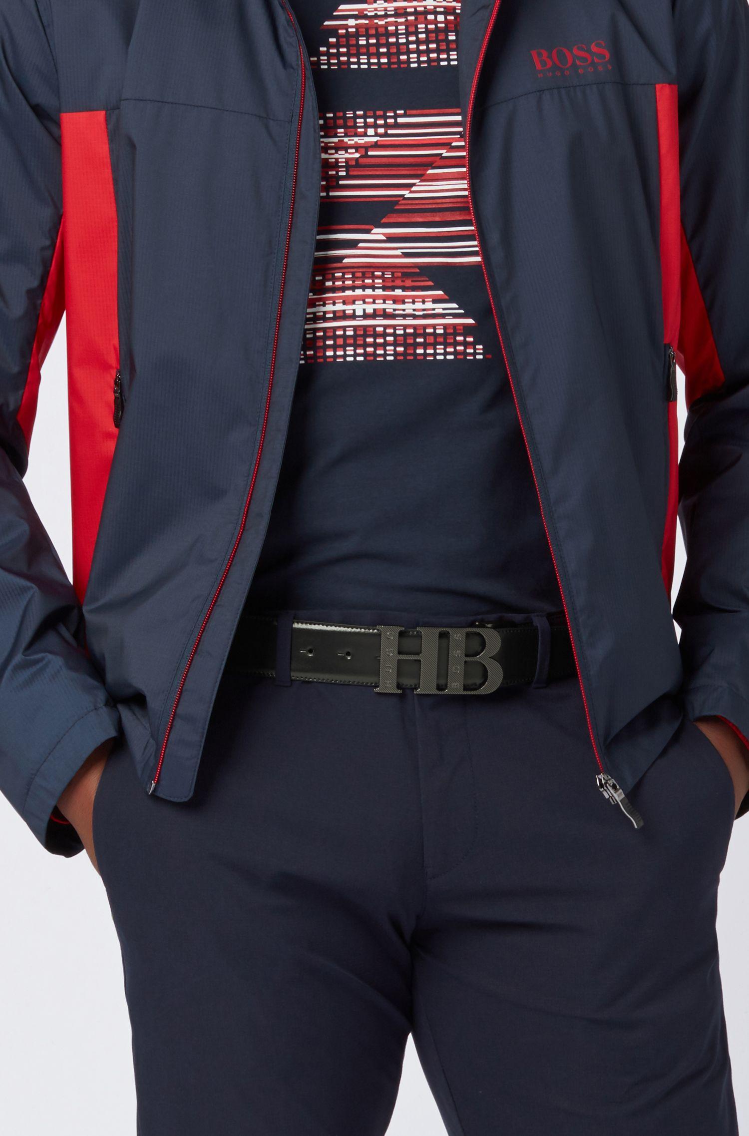 Cinturón reversible en piel suave, Azul oscuro