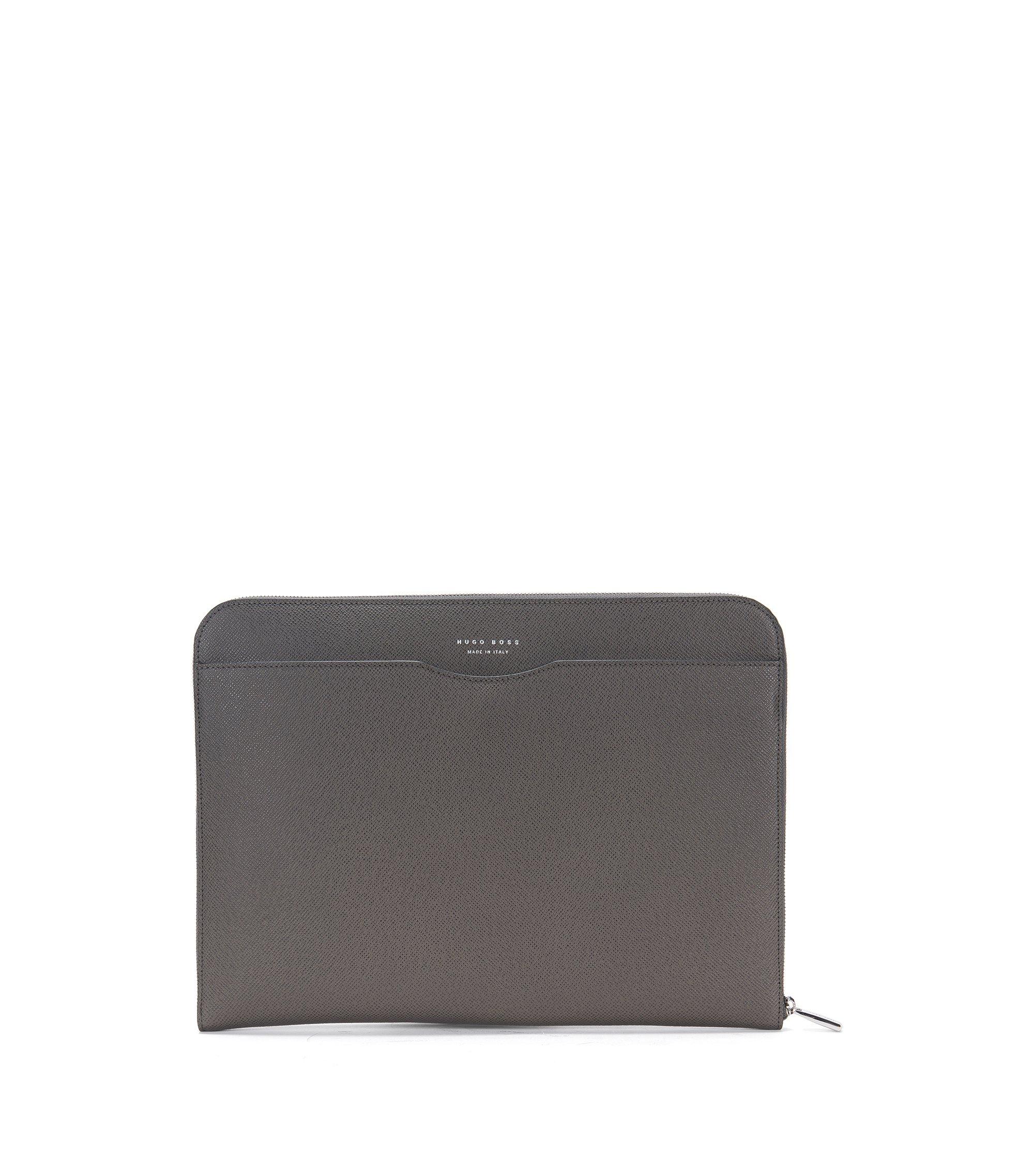 Porte-document de la collection Signature en cuir palmellato, Gris sombre
