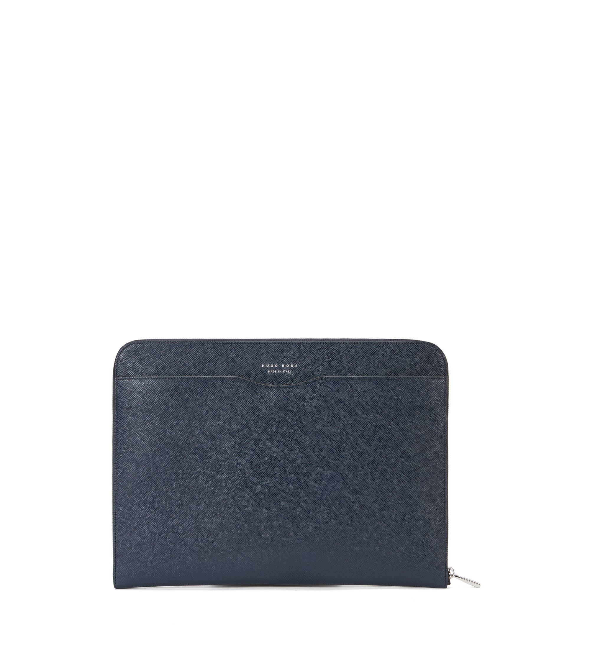 Porte-document de la collection Signature en cuir palmellato, Bleu foncé